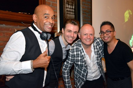 (L to R) DJ Henry Knowles, host of the Pattaya Latin Saturdays, Inaki Fernandez, a worldwide known dancer from Spain, Jost Wagner, Organizer of the Salsa Bangkok Fiesta, and Michael Miguelito Belmonte, Dance Instructor of the World Dance Studio rumPUREE, pose for a photo at the Havana Bar, Holiday Inn Pattaya, on Saturday, July 25.