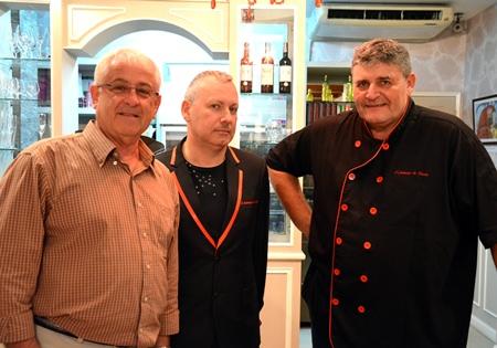 (L-R) Photographer Michel Thureau with restaurant owner Josse Dachicourt & Chef Pierre.