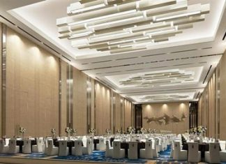An artist's graphic shows the proposed conference hall at the new Best Western Plus Wanda Grand Hotel.
