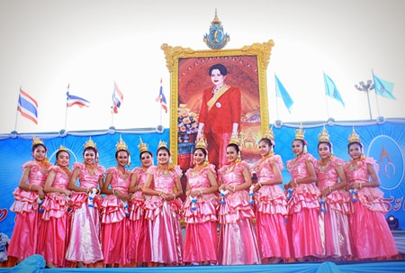 Lovely traditional dancers perform on the Bali Hai stage to honor HM the Queen.