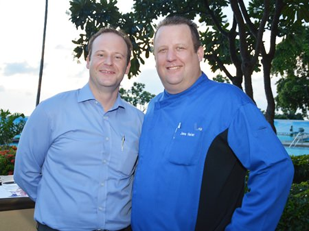 Max Sieracki (left) poses with Jens Heier, Director of Kitchens.