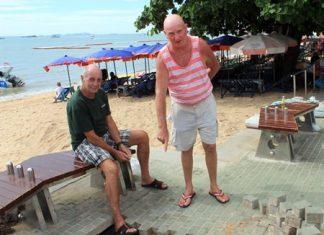 A sinkhole recently appeared along the Pattaya beach promenade.