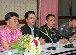 (L to R) Banglamung District Chief Chakorn Kanjawattana, Mayor Itthiphol Kunplome, Colonel Prasert Jaikla from 14th military circle, and Pattaya Tourist Police Inspector Pol. Maj. Piyapong Ensan, meet with local tourism officials to increase security in light of last week's terrorist attack in Bangkok.