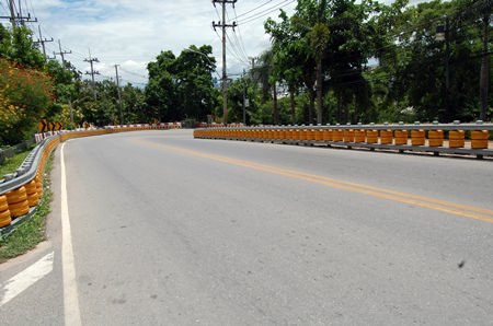 Pattaya city councilman Sanit Boonmachai said the orange bumpers installed last month along the winding road leading up to the Pratamnak viewpoint - as well as three other areas - were not installed correctly, and did not improve road safety.