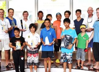 Sailors pose for a group photo at the prize giving ceremony.