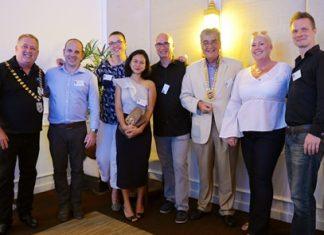 (L - R) Tim McGuire (President - Skål Chiang Mai); Ivan Berthelot (Skål Krabi V-P); Jana Kenton (Skål Krabi Secretary); Prapakorn Kaewprom (Skål Krabi Treasurer); George Kenton (Skål Krabi President); Dale Lawrence (President - Skål International Thailand); Ingeborg Kristensen (Skål Krabi Membership Development & Public Relations) and Mikko Kataja (Skål Krabi V-P).