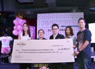 (From left) Anusara Kithisook, PR manager of the Thanyarak Breast Cancer Foundation, Yuwathida Jeerapat, Pattaya City Councilor Region 2, and Rattanachai Sutidechanai, vice chairman of the Pattaya City Council, along with Hard Rock staff, display a cheque for over 92,000 baht raised by selling pink products, food, beverages and accommodations since October last year, which has been donated to the Thanyarak Breast Cancer Foundation.