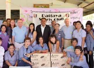 The Pattaya Sports Club recently brought some relief to the Nong Ta-Oon Community, donating ceiling fans for their health center. (Standing from 6th left) Helle Rantsen, George Bennison, Noi Emmerson, Peter Malhotra, Noi and Dennis Stark and Suppantha Sukwong.