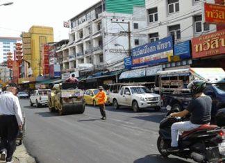 Construction crews work to resurface South Pattaya Road.