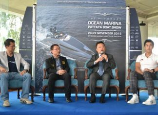 (L to R) Ocean Property Managing Director Teerachai Phipitsupol, Pattaya City Councilor Itiwat Wattanasartsathorn, TCEB Director Noparat Metawikulchai, and Dr. Nataklit Tiewpai-ngam, an experienced senior in the yachting business, announce the upcoming boat show.
