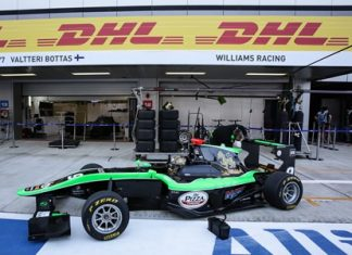 Sandy Stuvik waits in the pit lane during GP3 Series qualifying at the Sochi racing circuit in south-western Russia, Saturday, October 10.
