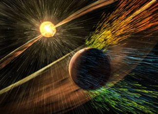 This image made available by NASA shows an artist's rendering of a solar storm hitting the planet Mars and stripping ions from the planet's upper atmosphere. (Goddard Space Flight Center/NASA via AP)