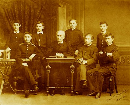Nikolai Zverev with his young students in the late 1880s; Scriabin is second left, Rachmaninoff fourth from right.