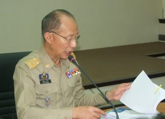 Gov. Khomsan Ekachai met with provincial agencies and private groups to review the final 29-kilometer route for Chonburi's version of December's Bike for Dad cycling event to honor HM the King on his birthday.