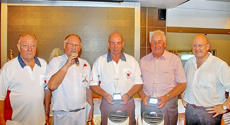 2015 Poppy Golf champions, Andrew Byrne and Trevor Gough, pose with Max Matthews (left), Derek Brook (2nd left) and Graham MacDonald MBE (far right).