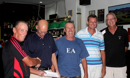 (From left) PGS Club Capt. David Thomas congratulates scramble winners Gerner Lykke, Mick O'Donnell, Jesper Hansen & Brian Tully.