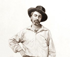 Walt Whitman in 1854 aged 35. (Engraving: Samuel Hollyer)
