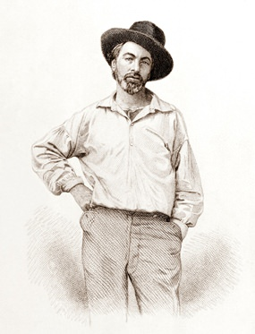 Walt Whitman in 1854 aged 35. (Engraving: Samuel Hollyer)