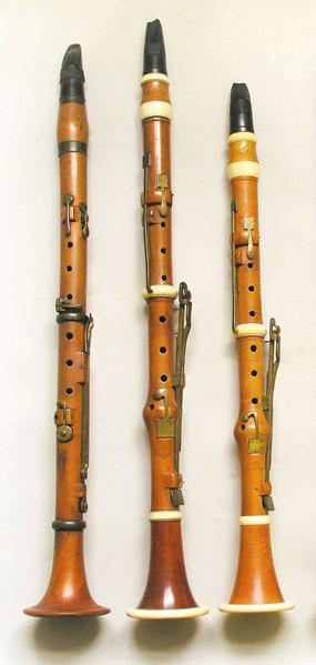 Late 18th century five-key clarinets.