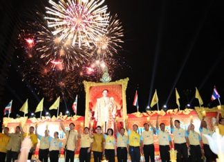 Fireworks punctuate the end of the national anthem, with singing being led by Mayor Itthiphol Kunplome and city leaders, as thousands of people gathered at Bali Hai in South Pattaya to pay their highest respects and best wishes for HM King Bhumibol Adulyadej the Great on the auspicious occasion of the 88th Royal Anniversary of His birth. From alms offerings to monks to gifts of flowers from elephants, the Eastern Seaboard marked the 88th birthday of HM King Bhumibol Adulyadej the Great with meritorious activities, good deeds and fireworks.