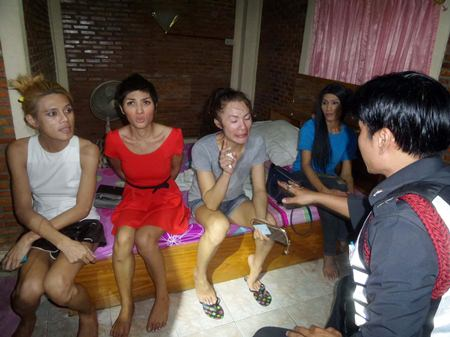 All four transvestites were taken to Pattaya police station where they all failed drug tests.