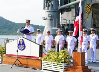 Fleet commander-in-chief Admiral Naris Prathumsuwan presides over the Royal Thai Fleet's celebrations for its 92nd Founder's Day.