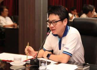 City Councilman Rattanachai Sutidechanai presides over a planning meeting to work out security, utilities and site preparations for the annual Pattaya Countdown party.