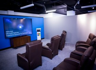 This photo provided by Microsoft shows the Microsoft HoloLens studio in New York. Microsoft is opening the studio to showcase its upcoming HoloLens headset for inserting holograms into real-world settings. At the studio, software developers will see a video and get hands-on demonstrations. (Microsoft via AP)