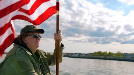 "This image shows director Michael Moore in a scene from his documentary, ""Where to Invade Next."" (Dog Eat Dog Films via AP)"