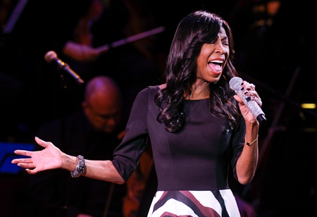 The late Natalie Cole is shown performing in this March 2, 2015 file photo. (Photo by Evan Agostini/Invision/AP)