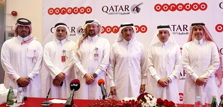 From right: Sheikh Saud Bin Nasser Al Thani, Group CEO of Ooredoo; H.E Akbar Al Baker, Qatar Airways Group Chief Executive; H.E. Sheikh Abdulla Bin Mohammed Bin Saud Al Thani, Chairman of the Board of Directors for Ooredoo; Waleed Al Sayed, CEO Ooredoo Qatar; Yousef Abdulla Al Kubaisi, COO Ooredoo Qatar, and Sheikh Nasser Bin Hamad Al Thani, Chief New Business Officer Ooredoo.