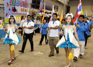 Teams parade at the start of the 13th annual Pattaya City Friendship Games, January 29.