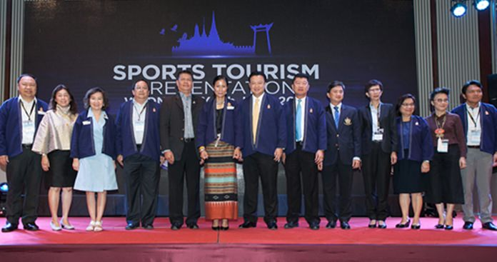 H.E. Kobkarn Wattanavrangkul and senior sports and tourism executives from the Sports Authority of Thailand and the Tourism Authority of Thailand at the Sports Tourism Presentation, TTM+ 2016 in Chiang Mai.