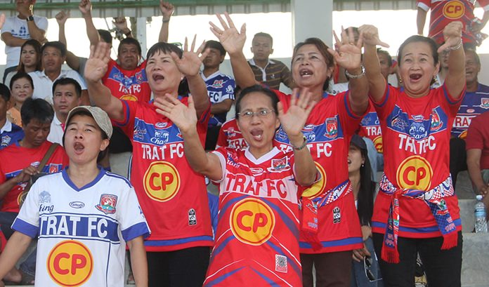 The Trat fans show their disapproval of the referee's decisions.