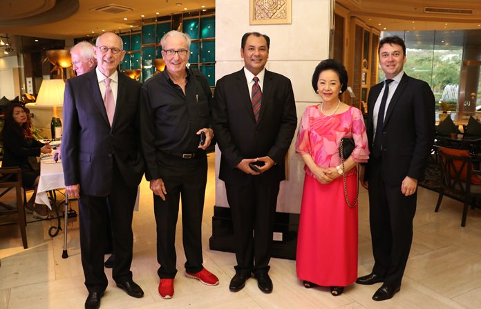 (L to R) Ron Batori, Dr. Iain Corness, Prem Calais, Panga Vathanakul and Fabrice Papin take a moment to pose for the paparazzi.