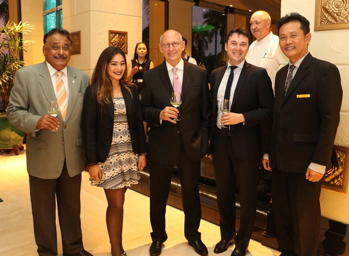 (L to R) Peter Malhotra, Stephanie Vallée, Assistant PR & Marketing Communication Manager,Ron Batori, Fabrice Papin, and Suchart Suksawad Beverage Manager of the Royal Cliff Beach Hotel enjoy a chat before sitting down to dinner.