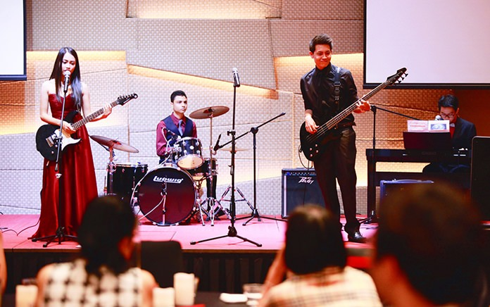 Several students performed a range of songs to mark the end of their studies.
