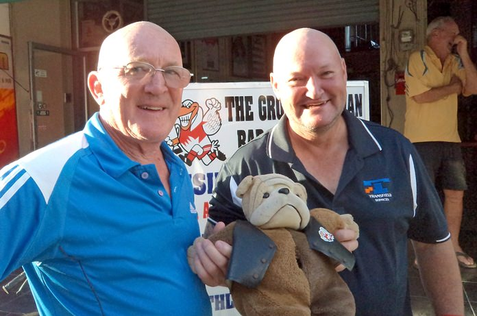 Mark Stapleton (left) with D-For the Dog and Peter Bye.