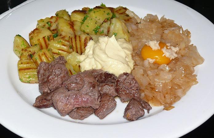 Beef Rydberg with Egg Yolk and Horseradish cream.