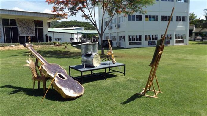 Ingrid Van der Heyden helped students create giant instruments.