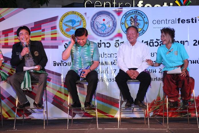 (L to R) Deputy Mayor Ronakit Ekasingh, Chonburi PAO deputy Chief Rewat Phonlookin, Nongprue Mayor Mai Chaiyanit, and Pattaya Issan Association President Chanthiman Siripotiraksa share a fun moment whilst announcing this weekend's festival.