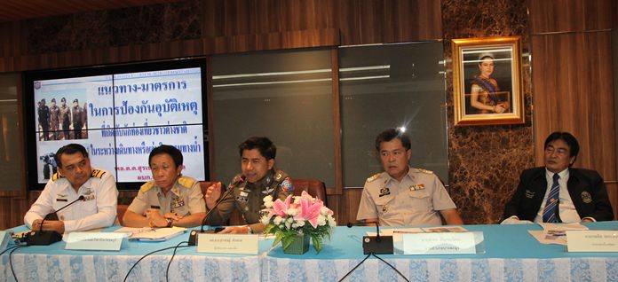 (L to R) Eakaraj Khantaro, director of the Pattaya Marine Department, Boonchai Tansamai from the Chonburi Tourism and Sports Council, Maj. Gen. Surachet Hakpan, commander of the Tourist Police Division, Banglamung District Chief Chakorn Kanchawattana, and Pattaya Deputy Mayor Ronakit Ekasingh once again promise things will get better if everyone works together to solve Pattaya's marine-safety problem.