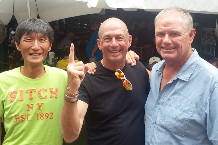 Phil Smedley (centre) with Kenny Aihara (left) and Fred Birch