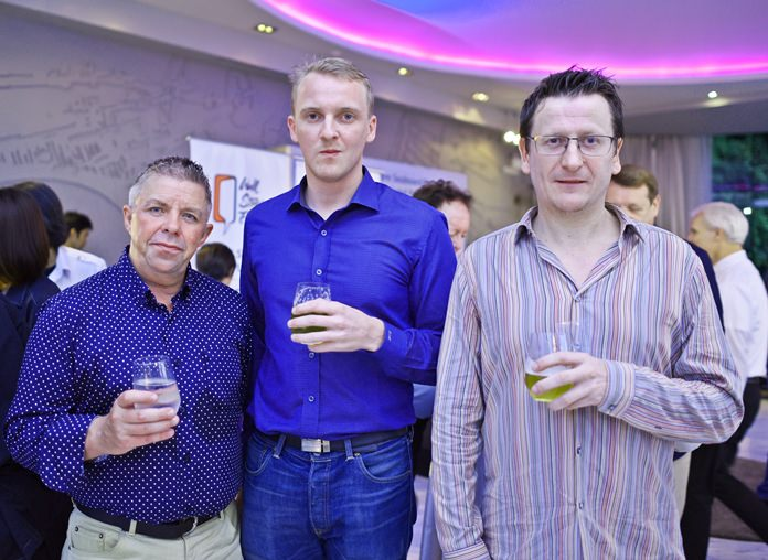 (L to R) Paul Strachan, assistant editor at Pattaya Mail chats with Craig Mackenzie and David Pollock from Prtr Recruitment.