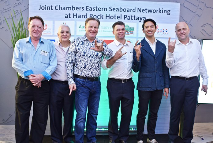 (L to R) Allan Riddell, advisor at SATCC, David R. Nardone, president and CEO at Hemraj, Simon Matthews, country manager at Manpower, Vincent Pourre, corporate account manager at Wall Street English Thailand, Marut Srisupapol, director of sales and marketing at Hard Rock Hotel Pattaya, and Dr. Roland Wein, executive director at GTCC.