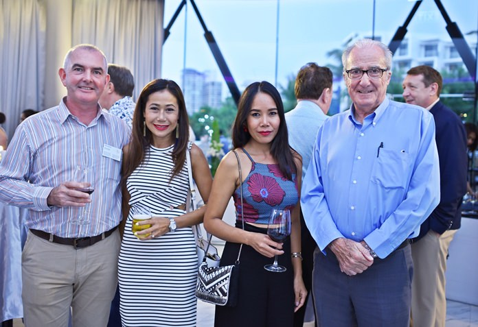 (L to R) Craig Muldoon, consultant at Pecunia poses for a photo with Chumhakan Kawla, Nadia Swan and the Doc.