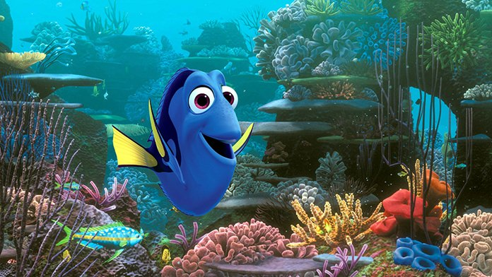 """This image shows the character Dory, voiced by Ellen DeGeneres, in a scene from """"Finding Dory."""" (Pixar/Disney via AP)"""