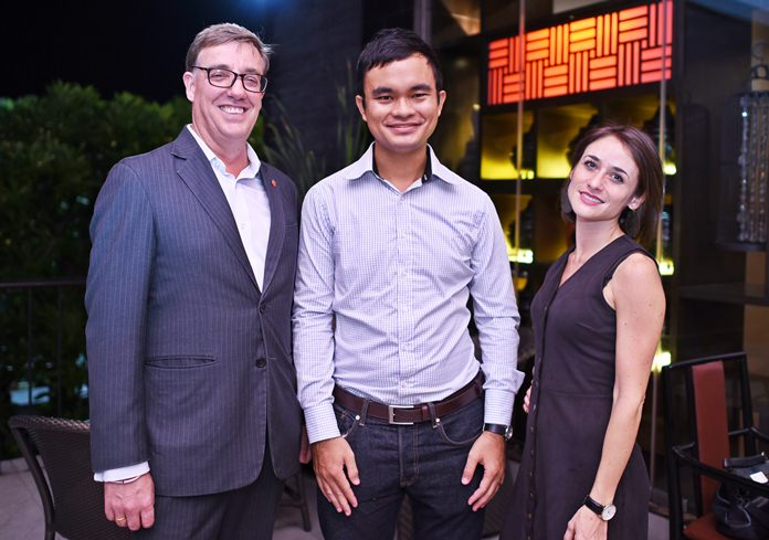"Amari Pattaya Resident Manager Richard Gamlin (left) is joined by representatives of Wine Pro, Pattaya sales executive Thananut ""Nut"" Singhathep and National sales director, Pauline Gomez."