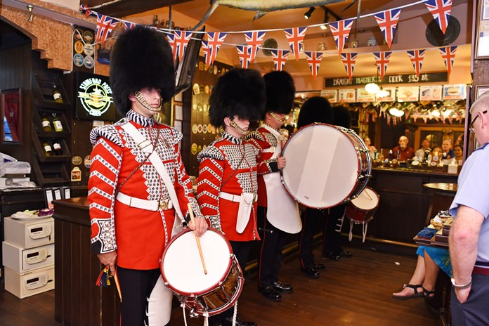 Members of the Welsh Guards play a number of familiar military tunes.