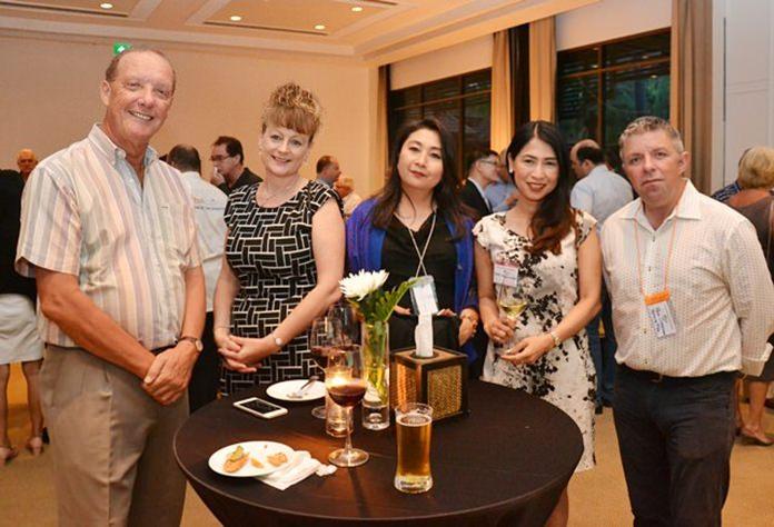 (L to R) Stuart McKenzie, Angie Turton, Dive in Pattaya, Chada Puranapin, June Hongsuwan, Senior Vice President, Zhongtai International Wealth Management, and Paul Strachan from Pattaya Mail.